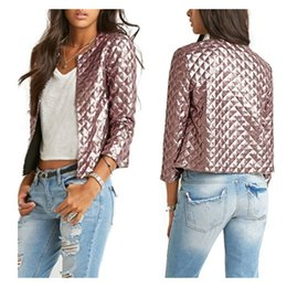 Wholesale Stylish Womens Tops - Wholesale- Womens Bomber Brown Jacket Vintage Zip Up Biker Stylish Padded Coat Tops