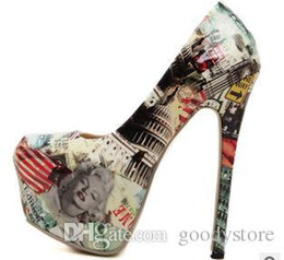Wholesale Toe Flatform - Printed Marilyn Monroe Dress Shoes Stiletto Heel 16cm High Flatform Free Shipping 0324B10