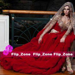 Wholesale Ivory Beaded Lace Chapel Veil - Luxury Gold Crystal 2015 Dubai Nisrine Sheer V-Neck Wedding Dresses with Beaded Veils Long Sleeves Red Satin Arabic Kaftan Hi-Lo Bridal Gown