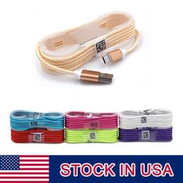 Cable de carga USB de nylon tejido hilo de la cabeza de la aleación de aluminio de 1.5 m para Smartphone Envío libre con DHL desde fabricantes