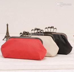Wholesale Skeleton Skull Finger Clutch - Wholesale-Cheap Products Women Ring Bag Skeleton Skull Finger Clutch Purse Evening Handbags Wallets