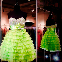 Wholesale Lime Green Short Ball Gown - Lime Green Homecoming Dresses 2016 Beaded Sweethart Silver Corset Bow Sashes Tiered Skirt Mini Ball Gown For Graduation Cocktail Dress