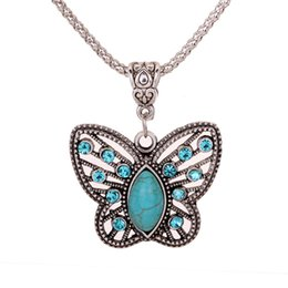 antique jewellery pendants Promo Codes - Yazilind Jewellery Christmas Antique Hollow Tibetan Silver Butterfly Crystal Turquoise Pendant Chain Necklace Clothes for Women