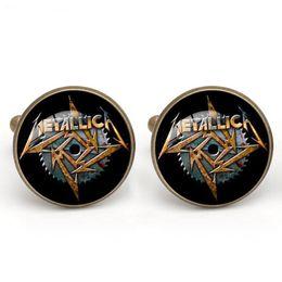 Wholesale Cufflinks Cloth - Men Shirt Cuff links Metallica Band Glass Cabochon steampunk French Cufflink Copper Cloth Accessory Charm Jewelry Gift