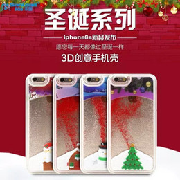 Wholesale Free Clear Housing - Glitter Chrismas House Tree Hard PC Clear Crystal Case Back Cover For iPhone 5 5S 6 6s plus free DHL