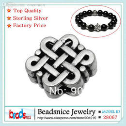 Wholesale Chinese Bracelet Knotting - Wholesale-Beadsnice ID28067 925 sterling silver european charm beads wholesale hot sale Chinese knot tibetan silver beads for bracelet
