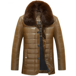 Wholesale Mens Leather Down Coat - Leather Down Jacket Mens Duck Down Parkas Winter Coats Real Fur Collar Snow Clothes Waterproof Windbreaker Warm Outwear High Quality