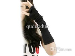 Wholesale Knitted Long Fingerless Gloves - 2015 NEW Black fingerless Long glove mitten gloves girl women braided knit Arm Leg Leisure warmer arm cover Fingerless Gloves