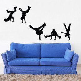 Wholesale Dance Stickers - ColorfulHall Break Street Dance Wall Decal Dancer Wall Sticker Children Art baby Bedroom Wall Decor