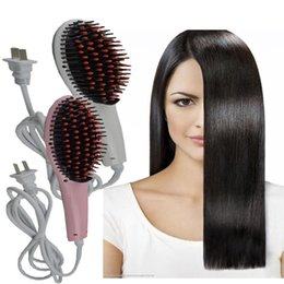 Wholesale Hair Straightener V Comb - Magic Hair Comb Fast Hair Straightener Straight Hair Styling Tool Flat Iron With LCD Electronic Digital Temperature Control US UK AU EU Plug