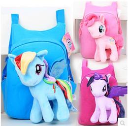 Wholesale Toy 3d Horse - Wholesale- Anime Backpack Cartoon Lovely Little Horse Kindergarten School Bags 3D Poni Unicorn Doll Plush Backpack Toys for Children Gift