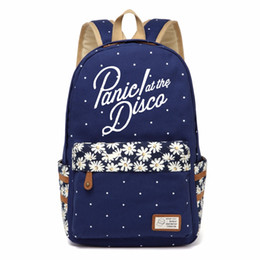 Wholesale Disco Dresses - WISHOT PANIC AT THE DISCO Canvas bag Flower backpack Girls women School Bags Cartoon travel Shoulder Bag