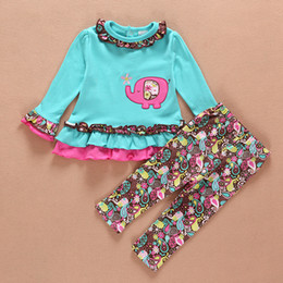 Wholesale Embroidery Suits Girls - 2015 baby new spring suit chicken embroidery dot outfit cute elephant lace suits A001