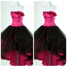 Wholesale Strapless Ball Dresses Prom - Real Pictures Strapless Ball Gown Prom Dresses High Low Tulle Handmade Flowers Pleated Fuchsia Black Formal Prom Party Gowns 2016