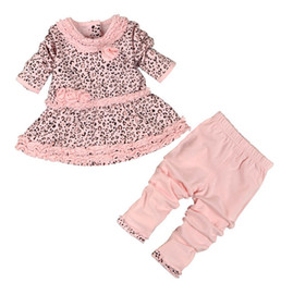 Wholesale New Leggings Set - New Spring Baby Girl Clothes Set Leopard Dress+Leggings 2 Pieces 100% Cotton Lovey Pink Color Baby Clothing Good Quality 4 s l