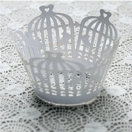 Wholesale Laser Cut Paper Birdcages - 240pcs lot Birdcage Design Laser Cut Paper Wrapper Cake Surrounding Edge Feast Cupcake Biscuit Pancake Packing wc567