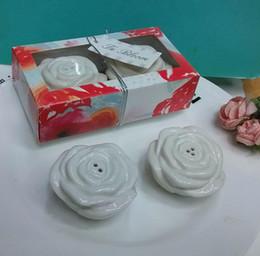 Wholesale Salt Pepper Shaker Flowers - 2016 Newest In Bloom Flower Ceramic Salt and Pepper Shaker Party Favor Wedding Souvenirs for Guest 100sets Lot