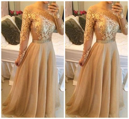 Wholesale Bateau Neck Chiffon Long Dresses - Sexy Backless Lace Long Sleeves A-line Prom Dresses Bateau Tulle Floor Length Prom Gowns Gold Evening Dresses P76