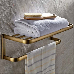 Wholesale Towel Holder Bathroom Single Bar - Wholesale And Retail NEW Antique Brass Wall Mounted Bathroom Shelf Towel Rack Holder With Towel Bar