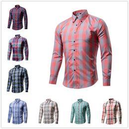 Wholesale Wholesale Business Clothes - 2 piece\lot Men's Plaid Dress Shirts Male Soft Comfort Long Sleeve Business Shirt Clothes Casual Adult Shirts Tops Clothing