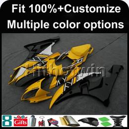 R6 giuntatura gialla online-23 colori + 8Gifts Stampo ad iniezione Calotta moto GIALLO per Yamaha YZF-R6 2006-2007 YZFR6 06-07 YZF-R6 Carenatura in plastica ABS