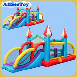 Wholesale Bouncy Castles - Inflatable Jumping Castle Combo Water Slide,Bounce House and Ball Pool for Kids,Bouncy Castle with Air Blower