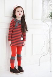 Wholesale Striped Pants Cheap - 2015 Cheap baby girls autumn winter striped long sleeve t-shirt +striped pants outfits Children clothes suits