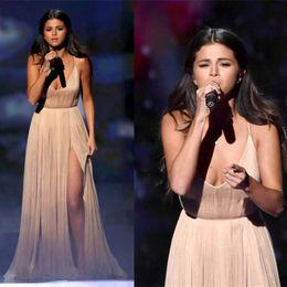 Canada Selena Gomez tapis rouge robes de soirée de célébrités haute cuisse fendue col en V profond robe de soirée robes de bal robe de soirée en ligne pas cher supplier evening dresses thigh slit Offre