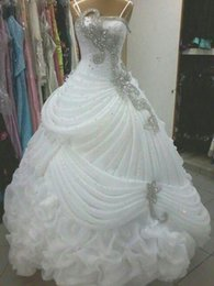 Wholesale New Sexy Backless Spaghetti Beaded - 2015 Luxury Wedding Dresses Crystal Beaded Sequins Ruffles A Line Wedding Dress Sweep Train Ball Gown Elegant Wedding Gown Dress New Arrival