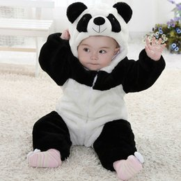 Wholesale One Piece Panda Costumes - Wholesale-Good Quality New Panda Costume One Piece Long Sleeve Cotton Newborn Baby Boy Rompers Baby Costume Clothing