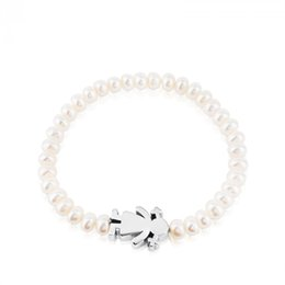Wholesale Cute Cuffs - Excellentgem Jewelry Fashion Gold Silver Women Stainless Steel cute Girl sign charms and pearl beaded Bracelet 1pcs drop shipping