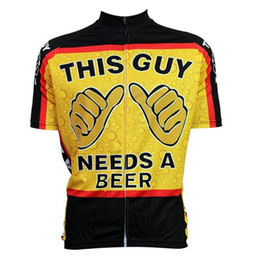 Wholesale Road Bike Clothing Women - Hot Sale This Guy Needs A Beer Cartoon Cycling Jerseys Tops Men Short Sleeves Comfortable Yellow Bike Clothing Summer Road Bicycle Clothing