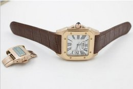 Wholesale Golden Movement - Luxury Watches Brand New New style men Golden case 100 LX caliber automatic movement mechanical white dial black leather hands wristwatch.