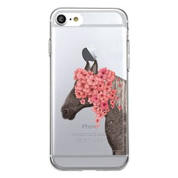 Wholesale Silicon Flowers - Unique Cute flowers Unicorn Clear Transparent Soft Silicon Phone Case Back Cover for iPhone 8 8s plus iphone X TPU Coque Carcasa Funda