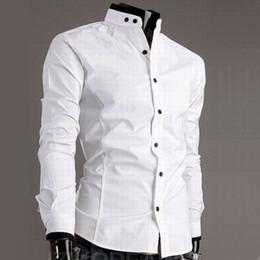Wholesale Long Sleeve Shirt Double - Casual Mens White Slim Fit Shirt Fashion Mandarin Collar Shirts Long Sleeve Collarless Shirt Double Stand Contrast Button Collar