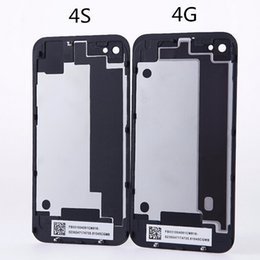 Wholesale Iphone 4s Battery Cover Case - For iphone 4 4S iphone4 iphone4S Glass Back Cover Housing Case Battery Door Cover With Flash Diffuser Black White