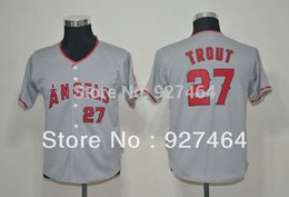 Wholesale 30 Teams new Los Angeles Angels Mike Trout red white grey youth kids boy baseball Jersey Embroidery Logo Original Tags