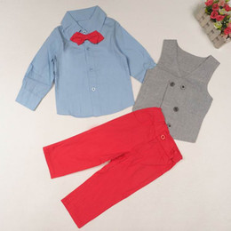 Wholesale Gentleman Style Boy Clothes - Retail Spring Autumn Children Clothes Sets Gray Vest Blue Long Sleeve Shirts Red Pants Boy Gentleman Three Piece Sets 2-7Y 5512