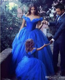 Wholesale Christmas Quinceanera Dresses - Cinderella Ball Gown Girls Pageant Dresses Off Shoulder Tulle Floor Length Quinceanera Dresses with Beaded and Butterfly Prom Dresses
