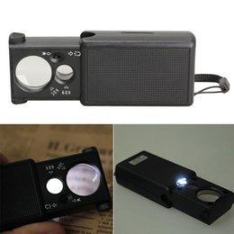 Wholesale Currency Detecting Magnifier - 30X 60X LED Jewelery Identify Pullout Magnifier Currency Detecting Loupes