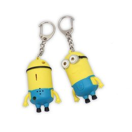 "Wholesale Minion Lights - Cartoon Despicable Me Key Chain 3D Eye Small Minions Figure Kid Toy Night Light Keys Chain Sound can Say""I LOVE YOU"" Toys Flashlight Torch"