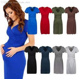 Wholesale Wholesale Maternity Plus Sizes - Wholesale-Maternity Women's Dress Tunic Short Sleeve V-Neck Stretchy Bodycon Pregnant Jersey Dresses Vestidos Plus Size