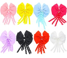 Wholesale Wholesale Streamer Bows - 4 inch korker streamer ribbon elastic bobble Grosgrain Ribbon Long Korker Tail Fancy Cute Hair Bow With Clip For Girls B11