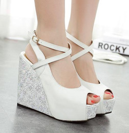 Wholesale Size Heel Wedges - Sexy Cross Strappy Blue White Wedding Shoes Platform Wedge Sandals Peep Toe Bridesmaid Shoes Size 34 to 39