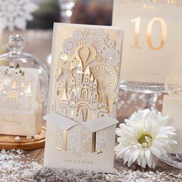 Wholesale Wholesale Luxury Wedding Invitations - 50pcs Lot (Card + envelop + seal)Luxury Champagne Color Cutout Tow Wedding Invitations Cards Engagement Gatefold Invites Wedding Favors