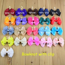 Wholesale Diy Bowknot Chiffon - 105pcs lot Kids Bowknot WITH Hair Clips 7cm Children 2 Layer Dot Chiffon Bow Hair Clip For Girl Hair Pins DIY Accessories HA0461