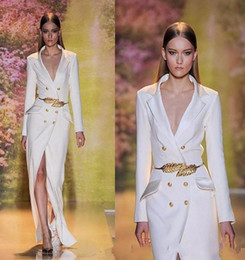 Wholesale Navy Belt Dress - 2018 New Hot Sale White Split Long Evening Dresses High Quality Sleeves Sexy V-Neck Formal Prom Party Gowns with Golden Belt 171