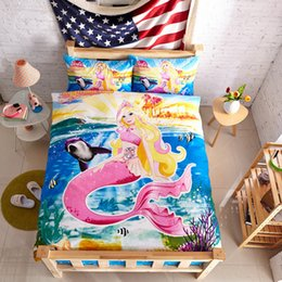 Wholesale Duvet Cover Sets Girl - The little Mermaid bedding set girls twin size bedspreads duvet cover bed in a bag sheets designer bedroom cartoon Kids single