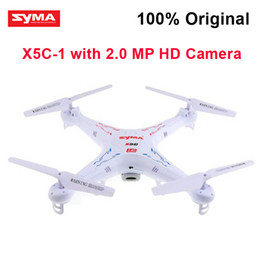 Wholesale Rc Helicopter Upgrades - DHL RC Helicopter Quadcopter Original SYMA X5C-1 (New Upgrade Version X5C) 2.4GHz 4CH 6 Axis Gyro 2GB TF Card with 2MP HD camera