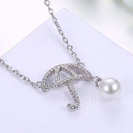 Wholesale Love Heart Umbrellas - Nine Styles 925 Sterling Silver Diamond Pearl Fashion Cute Mini Umbrella Pendant Necklace Cross Crown Heart Angel Wings Women Ladies Gifts